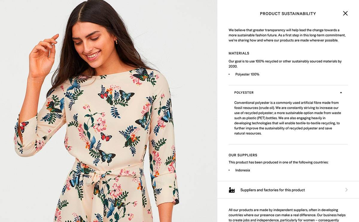 H&M launches product transparency for all garments on its website