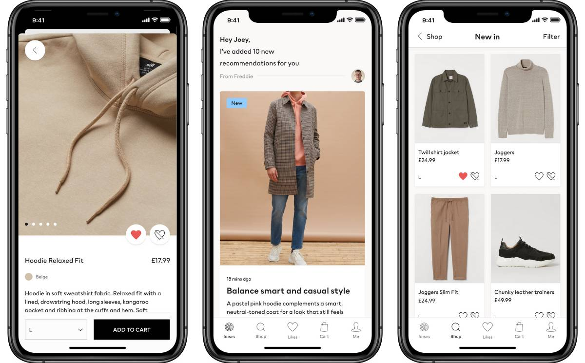 H&M has mobile apps for their users