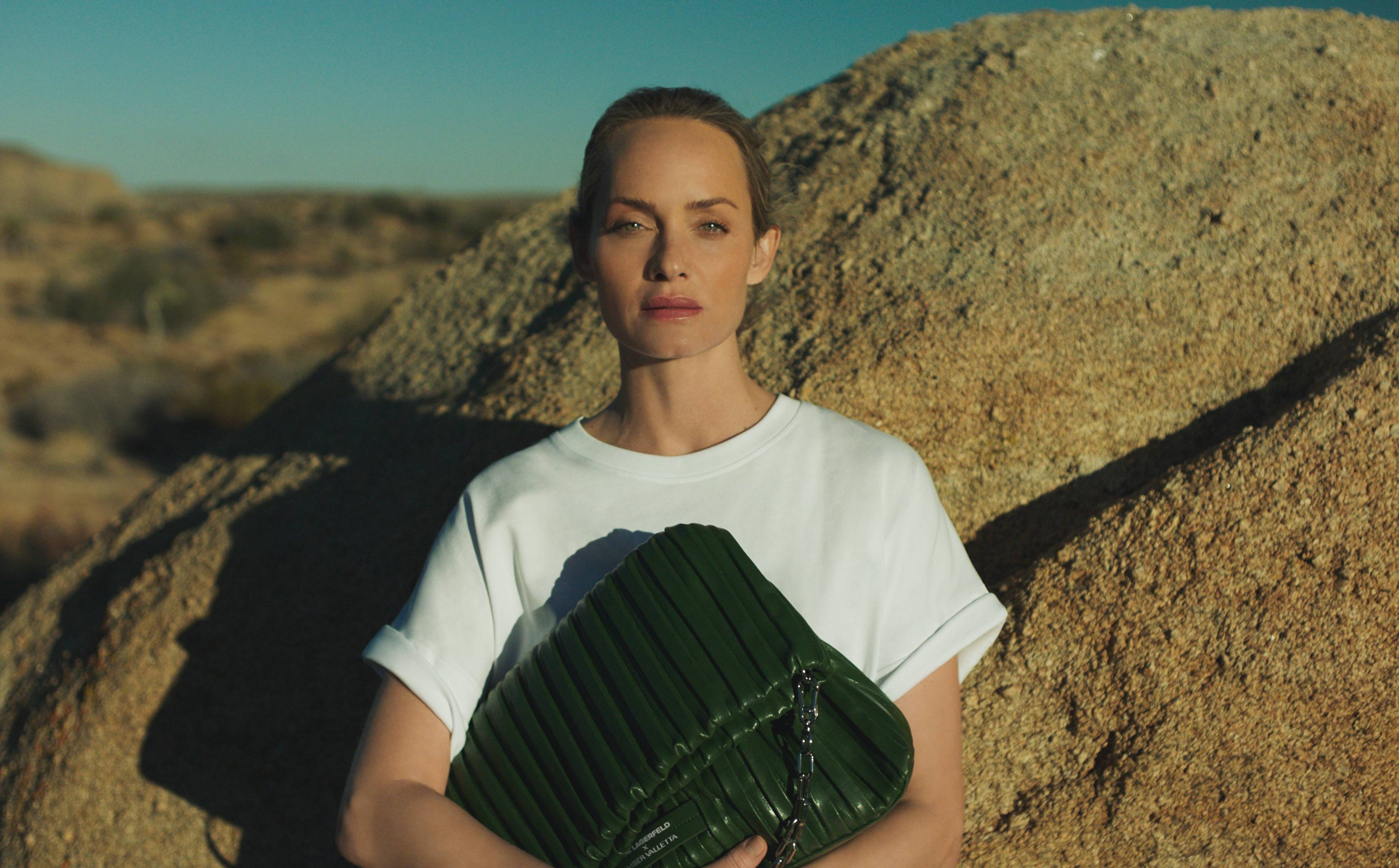 Karl Lagerfeld unveils debut collection with Amber Valletta