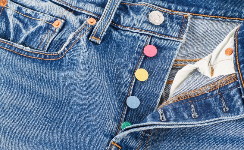 Gold, red and pastel-colored buttons garnish commemorative Levi's 501