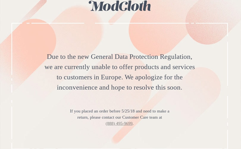 Modcloth stops all operations in Europe due to GDPR