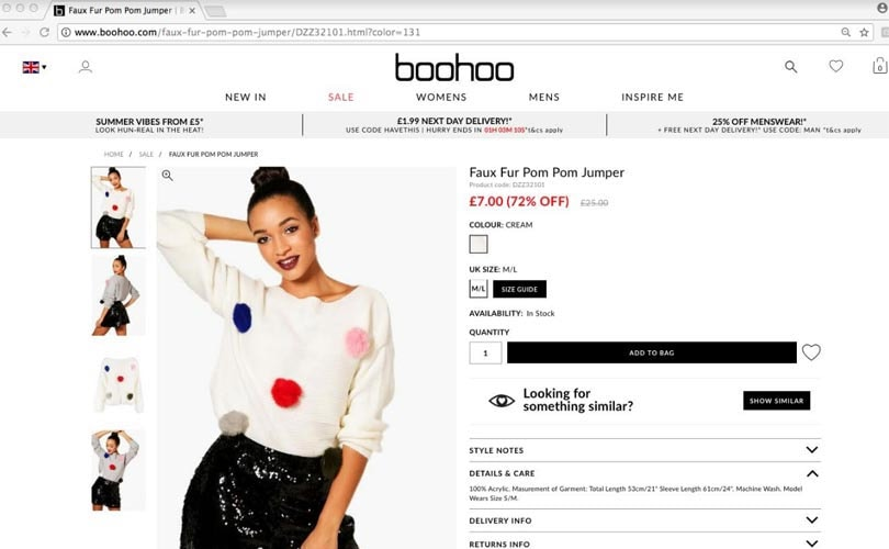 Boohoo faux fur jumper found to contain real fur