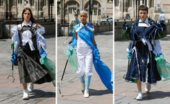 Schueller de Waal cleans the streets during couture week