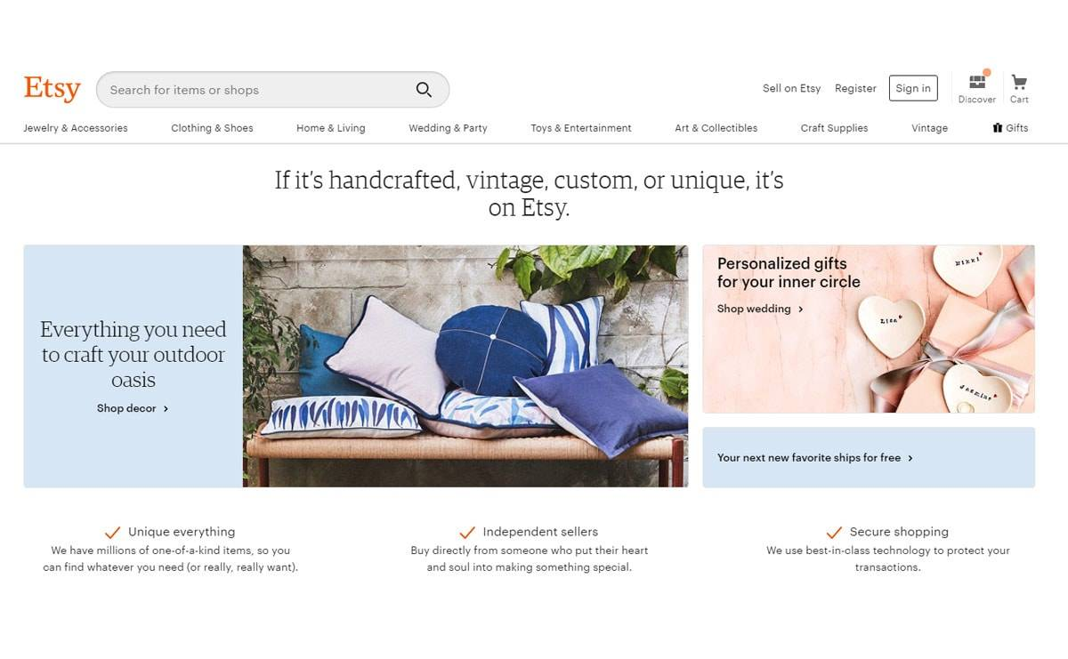 Etsy motivates sellers to offer free shipping to orders over 35 dollars